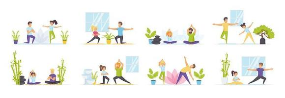 conjunto de ioga familiar com pessoas em várias situações vetor