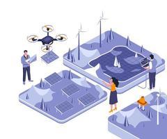 projeto isométrico de energia renovável vetor