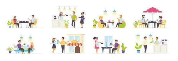 cafeteria ambientada com pessoas em vários cenários vetor
