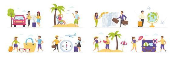 férias de verão com pessoas em várias situações vetor
