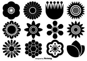 Coleção do vetor de ícones da flor planas