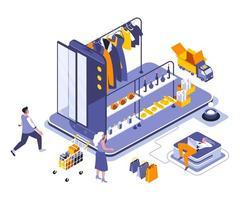 design isométrico de compras online vetor