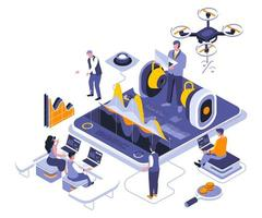 design isométrico de treinamento empresarial vetor