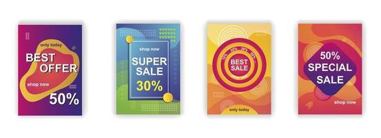 formas abstratas cartaz de venda design de histórias de mídia social