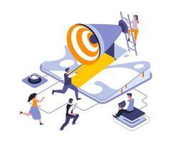 corra para atingir o objetivo design isométrico