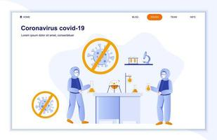 página de destino plana do coronavírus covid-19 vetor