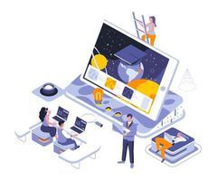 design isométrico de educação online vetor