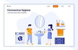 página de destino plana de higiene do coronavírus