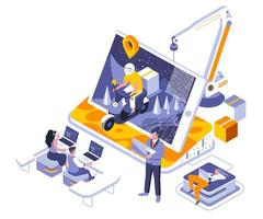 design isométrico de entrega online vetor