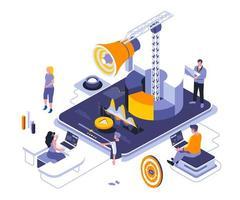 design isométrico de marketing digital vetor
