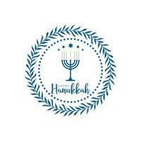 feliz hanukkah design de moldura redonda vetor