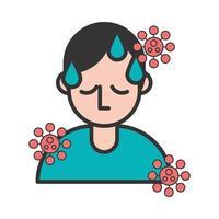 pessoa com febre e sintomas de covidina 19 vetor
