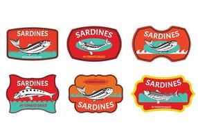Jogo da etiqueta Sardinhas vetor
