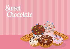 Chocolate doce Vector grátis