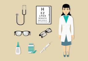 Doutor de olho e ícones médicos vetor