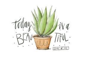 Watercolor Ilustração bonito Planta Com citações Lettering vetor