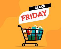 banner preto sexta-feira com carrinho de compras vetor