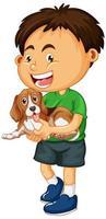 menino com cachorro isolado vetor
