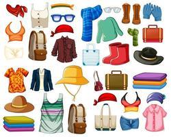 conjunto de roupas e acessórios de moda