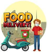 entrega de comida com o homem da bicicleta ou mensageiro vetor