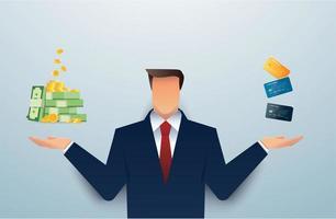 homem de terno escolhendo entre dinheiro e cartão de crédito vetor