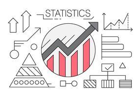 Ícones lineares com gráficos e estatísticas vetor