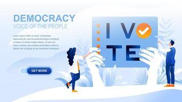 página de destino plana da democracia com cabeçalho
