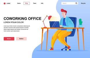 composição da página de destino plana do escritório de coworking vetor