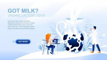 página de destino plana de leite orgânico com cabeçalho vetor