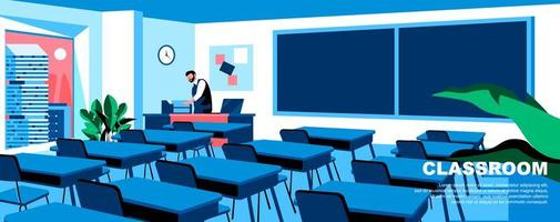 modelo de página de destino plana de sala de aula vetor