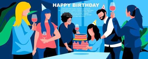 modelo de página de destino plana de feliz aniversário vetor