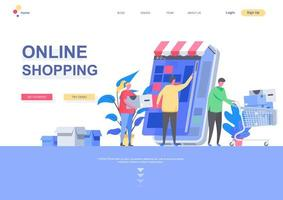 modelo de página de destino plana de compras online