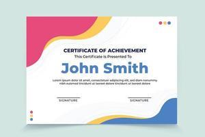 modelo de certificado de apreciação de onda colorida abstrato vetor