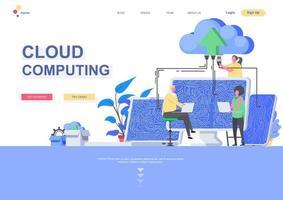 modelo de página de destino plana de computação em nuvem vetor