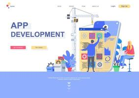modelo de página de destino plana de desenvolvimento de aplicativos vetor