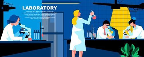 modelo de página de destino plana de laboratório vetor