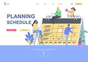 planejamento de programação de modelo de página de destino vetor