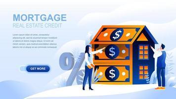 página de destino plana de hipoteca com cabeçalho vetor