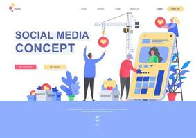 modelo de página de destino plana de conceito de mídia social
