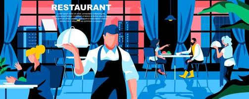 modelo de página de destino plana de restaurante vetor