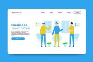 modelo da página de destino do trabalho da equipe de negócios
