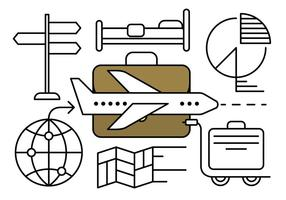 Elementos vetoriais lineares de viagens de negócios