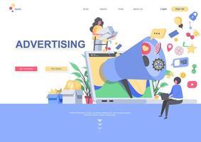 modelo de página de destino de publicidade vetor