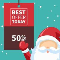 cartaz de ofertas de venda de natal do papai noel