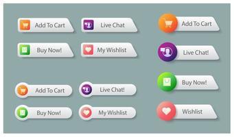 botões de compras para o mercado online vetor