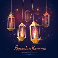 fundo ramadan kareem com lâmpadas 3d fanoos vetor