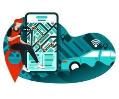 negócio urbano de transporte online vetor