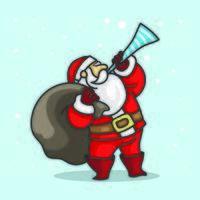 Papai Noel em pé tocando trompete