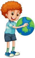 menino feliz segurando globo isolado