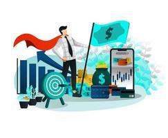 empresário e super-herói empreendedor vetor